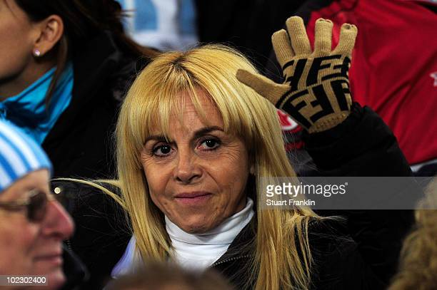 Claudia Villafane the exwife of Diego Maradona attends the 2010 FIFA World Cup South Africa Group B match between Greece and Argentina at Peter...