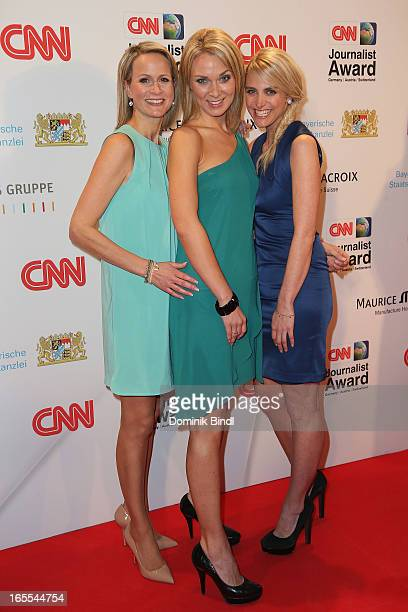 Claudia von Brauchitsch Britta Hofmann and Anna Kraft attend the CNN Journalist Award 2013 at the Künstlerhaus at Lenbachplatz on April 4 2013 in...