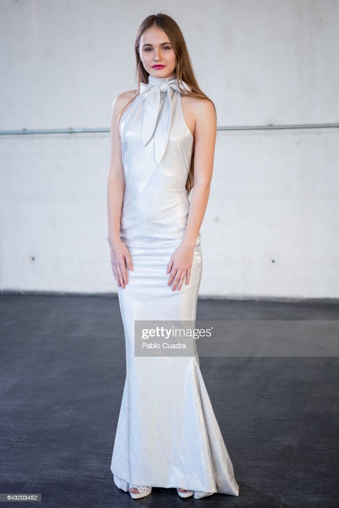 Claudia wears Ivan Andreu dress at Ifema during Mercedes Benz Fashion Week Madrid Autumn / Winter 2017 on February 20, 2017 in Madrid, Spain.