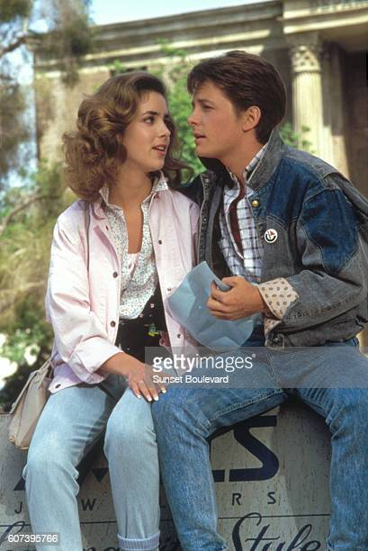 Claudia Wells and Michael J Fox on the set of Back to the Future