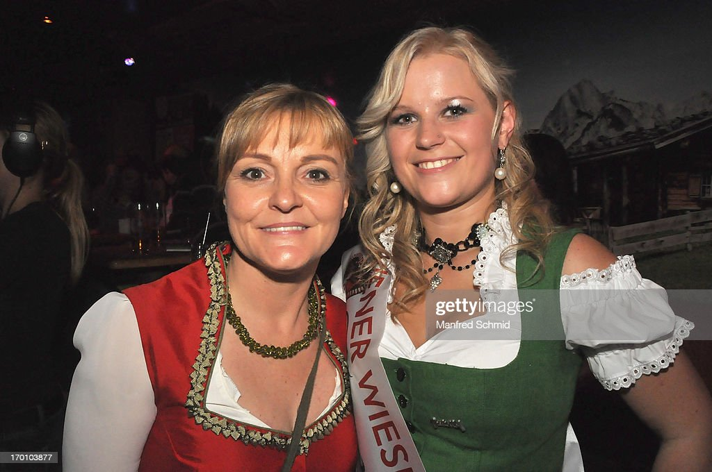 Claudia Wiesner and Nicole pose during the beauty competition 'Miss Wiener Wiesn-Fest 2013' at Bettel-Alm on June 6, 2013 in Vienna, Austria.