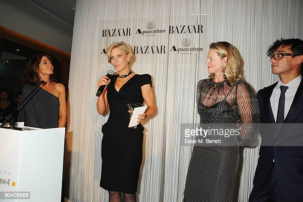 Claudia Winkleman Amanda Staveley and guest attend the Harper's Bazaar Women Of The Year Awards at The Dorchester on September 7 2009 in London...