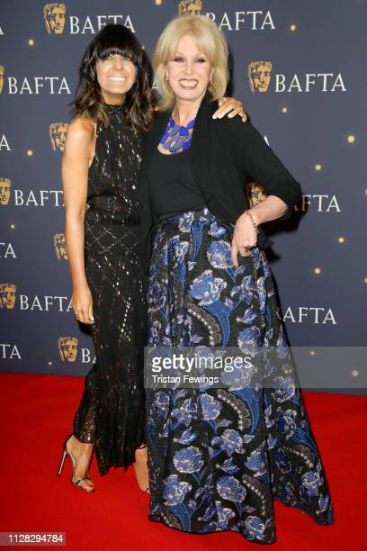 Claudia Winkleman and Joanna Lumley attend the BAFTA Film Gala at the The Savoy Hotel ahead of the EE British Academy Film Awards this Sunday on...