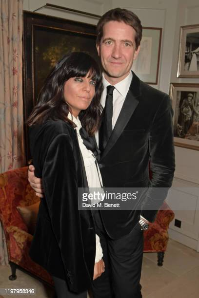 Claudia Winkleman and Kris Thykier attend the Charles Finch & CHANEL Pre-BAFTA Party at 5 Hertford Street on February 1, 2020 in London, England.
