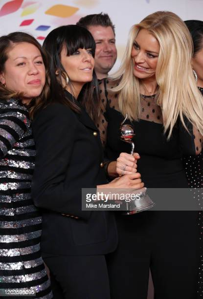 "Claudia Winkleman and Tess Daly accepting the Best Talent Show for ""Strictly Come Dancing"", pose in the winners room during the National Television..."