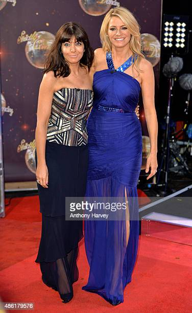 Claudia Winkleman and Tess Daly attend the red carpet launch of 'Strictly Come Dancing 2015' at Elstree Studios on September 1 2015 in Borehamwood...