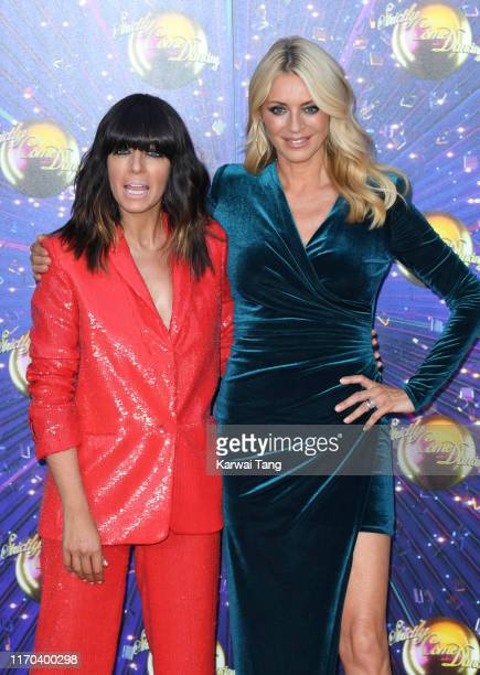 """Claudia Winkleman and Tess Daly attend the """"Strictly Come Dancing"""" launch show red carpet arrivals at Television Centre on August 26, 2019 in London,..."""