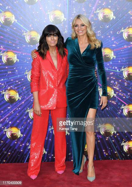 Claudia Winkleman and Tess Daly attend the Strictly Come Dancing launch show red carpet arrivals at Television Centre on August 26 2019 in London...