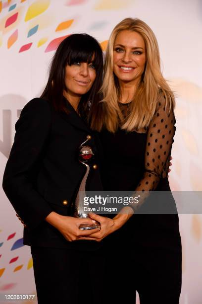 "Claudia Winkleman and Tess Daly win the Best Talent Show Award for ""Strictly Come Dancing"" at the National Television Awards 2020 at The O2 Arena on..."