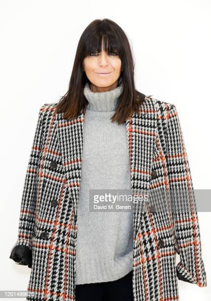 Claudia Winkleman attends the Johnstons of Elgin presentation during London Fashion Week February 2020 at The Serpentine Gallery on February 17, 2020...