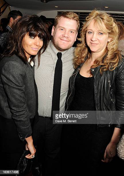 Claudia Winkleman James Corden and Sonia Friedman attend a gala performance of 'The Book Of Mormon' in aid of Red Nose Day at the Prince Of Wales...