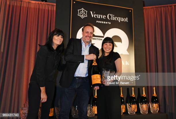 Claudia Winkleman Matt Hobbs and Sandia Chang attend the GQ Food Drink Awards at Rosewood London on April 23 2018 in London England