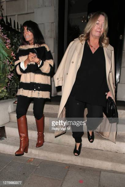 Claudia Winkleman seen on a night out at Annabel's in Mayfair on September 22, 2020 in London, England.