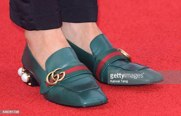Claudia Winkleman shoe detail arrives for the European premiere of 'Jason Bourne' at Odeon Leicester Square on July 11 2016 in London England