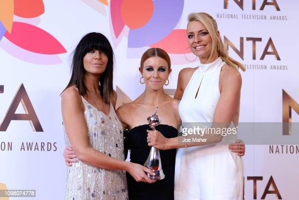 Claudia Winkleman Tess Daly and Stacey Dooley of Strictly Come Dancing pose with the Talent Show Award in the winners room during the National...