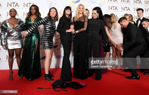 "Claudia Winkleman, Tess Daly, Michelle Visage accepting the Best Talent Show for ""Strictly Come Dancing"", pose in the winners room during the..."