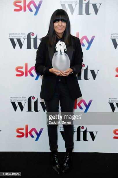Claudia Winkleman winner of the Eikon Presenter Award in the winners room at the Women in Film and TV Awards 2019 at Hilton Park Lane on December 06,...