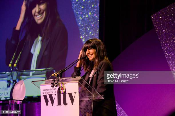 Claudia Winkleman winner of the Eikon Presenter Award on stage at the Women in Film and TV Awards 2019 at Hilton Park Lane on December 06, 2019 in...