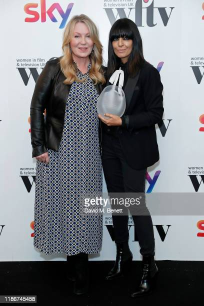 Claudia Winkleman winner of the Eikon Presenter Award presented by Kirsty Young in the winners room at the Women in Film and TV Awards 2019 at Hilton...