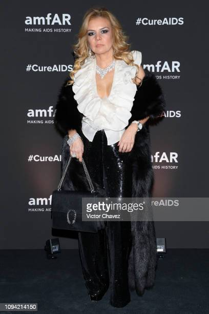 Claudia Zacarias poses during the amfAR gala dinner at the house of collector and museum patron Eugenio López on February 5 2019 in Mexico City Mexico