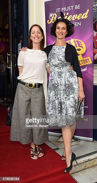Claudie Blakley and Indira Varma attend the Charlie and the Chocolate Factory second birthday in the West End at Theatre Royal on June 25 2015 in...