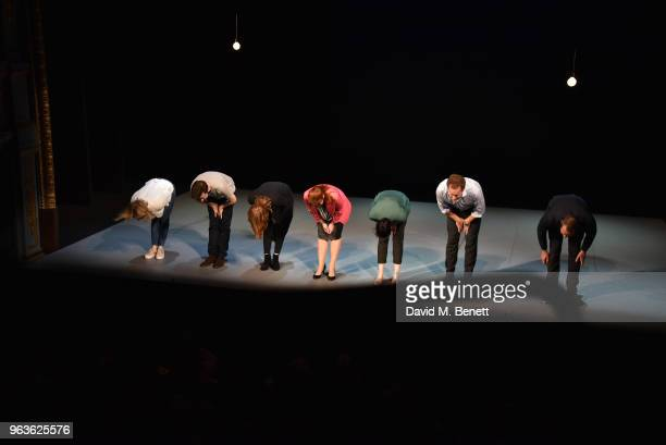 Claudie Blakley Lee Ingleby Clare Foster Heather Craney Sian Clifford Adam James and Stephen Campbell Moore bow at the curtain call during the press...