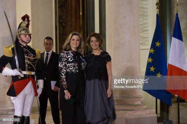 Claudine and Mireille Aoun attend a State dinner offered by French President Emmanuel Macron in honor of their father Lebanese President Michel Aoun...