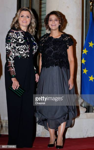 Claudine and Mireille Aoun daughters of Lebanese President Michel Aoun arrive for a state dinner with French President Emmanuel Macron at the Elysee...