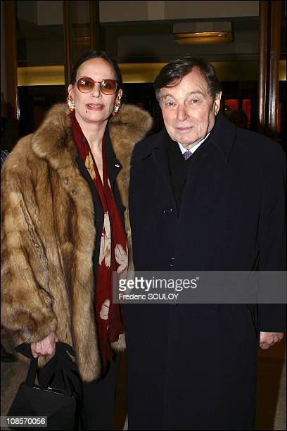 Claudine Auger and her husband in Paris France on February 04th 2005