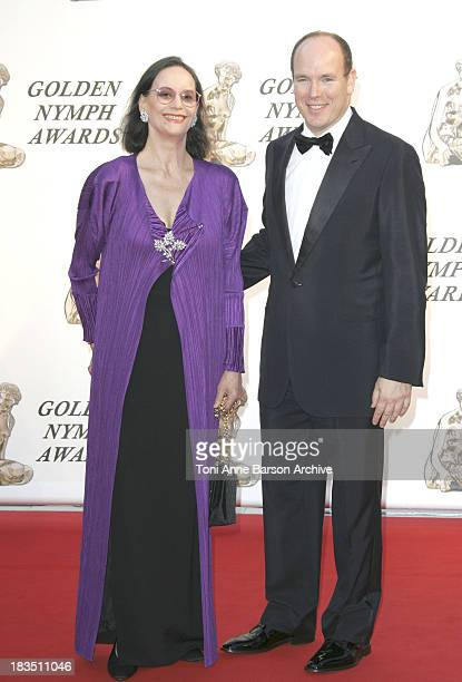 Claudine Auger and HSH Prince Albert II of Monaco during 46th Monte Carlo Television Festival Closing Ceremony Arrivals at Grimaldi in Monte Carlo...
