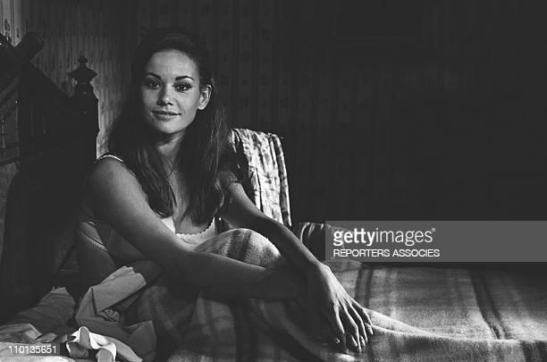 Claudine Auger at the set of the movie 'La fantastique histoire d'Eddie chapman' on July 7th1966