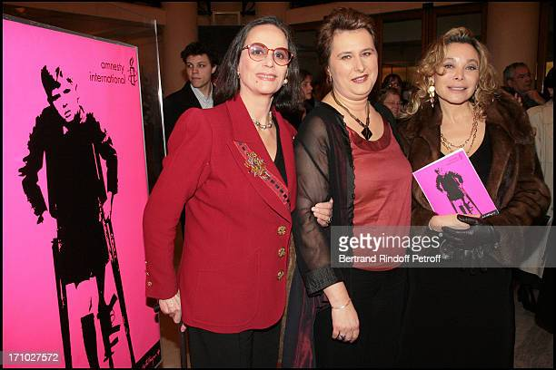 Claudine Auger Genevieve Sevrin and Grace De Capitani Gala Musique Contre L'Oubli of international Amnesty at the Champs Elysees theater led by...