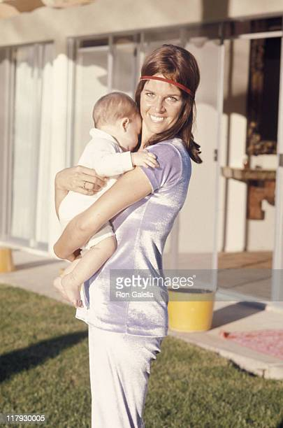 Claudine Longet and baby during Bob Hope's Desert Classic Golf Tournament at Palm Springs CA in Palm Springs California United States