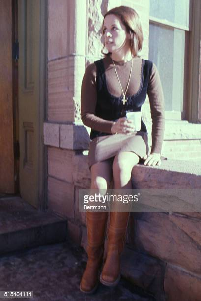 Claudine Longet takes a coffee break on the steps of Pitkin County Courthouse during recess in her trial for felony manslaughter in the shooting...