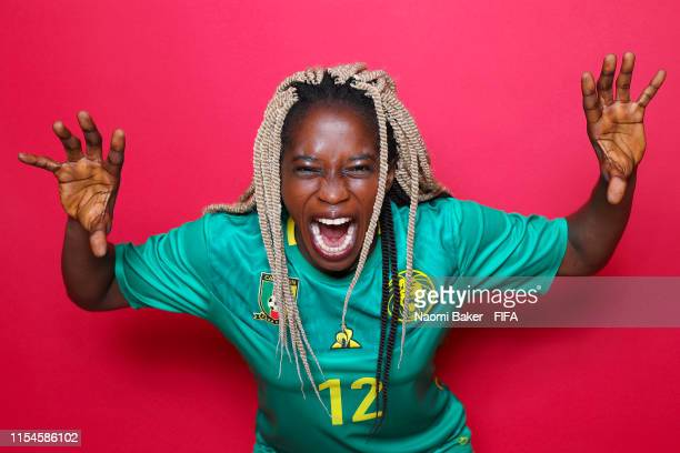 Claudine Meffometou of Cameroon poses for a portrait during the official FIFA Women's World Cup 2019 portrait session at Crowne Plaza Montpellier...