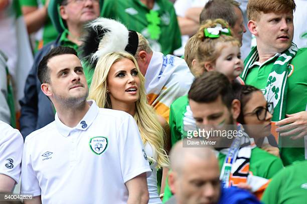 Claudine Palmer wife of Robbie Keane of Republic of Ireland during the GroupE preliminary round between Ireland and Sweden on June 13 2016 in Paris...