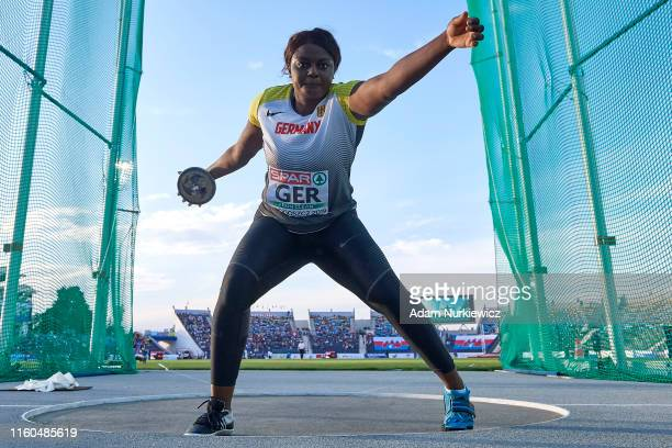 Claudine Vita from Germany competes in womens discus throw final while European Athletics Team Championships Super League Bydgoszcz 2019 - Day One at...