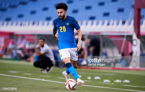 Claudinho of Brazil controls the ball during the Men's Group D match between Saudi Arabia and Brazil on day five of the Tokyo 2020 Olympic Games at...