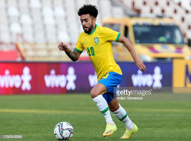 Claudinho of Brazil in action during the International football friendly match between Serbia U21 and Brazil U23 at stadium Rajko Mitic on June 8,...
