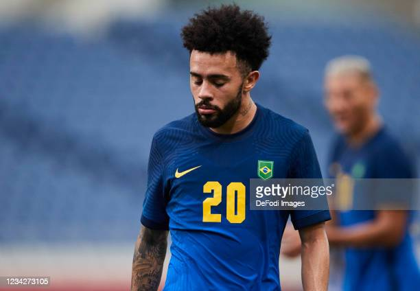 Claudinho of Brazil looks on during the Men's Group D match between Saudi Arabia and Brazil on day five of the Tokyo 2020 Olympic Games at Saitama...