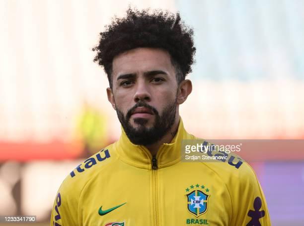 Claudinho of Brazil looks on prior to the International football friendly match between Serbia U21 and Brazil U23 at stadium Rajko Mitic on June 8,...