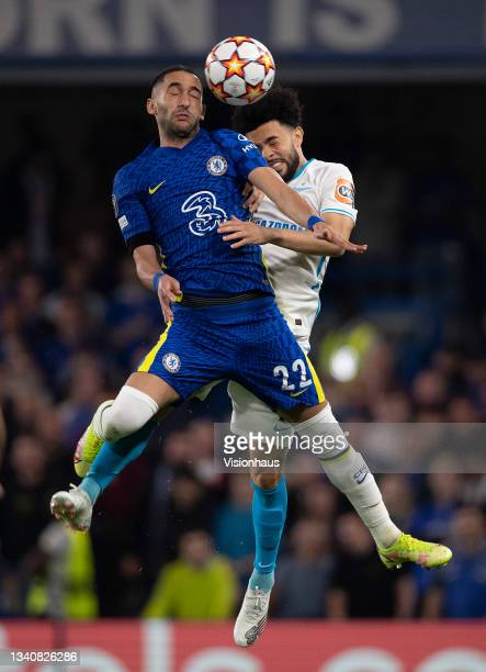 Claudinho of Zenit St.Petersburg and Hakim Ziyech of Chelsea during the UEFA Champions League group H match between Chelsea FC and Zenit St....