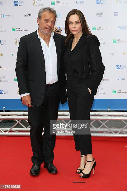 Claudio Amendola and Francesca Neri attend the '2015 David Di Donatello' Awards Ceremony at Teatro Olimpico on June 12 2015 in Rome Italy