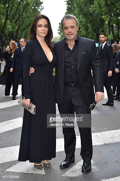 Claudio Amendola and Francesca Neri attend the Giorgio Armani 40th Anniversary Silos Opening And Cocktail Reception on April 30 2015 in Milan Italy