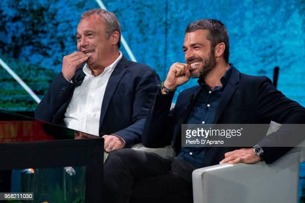 Claudio Amendola and Luca Argentero attends Che Tempo Che Fa tv show on May 13 2018 in Milan Italy