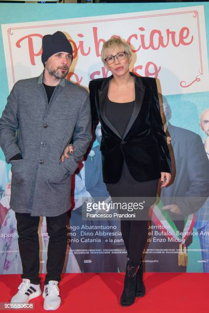 Claudio and Malika Ayane attend a photocall for 'Puoi Baciare Lo Sposo' on February 28 2018 in Milan Italy