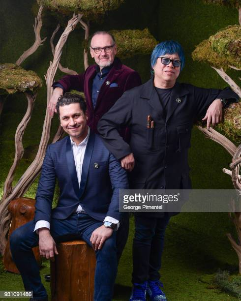 R Claudio Aprile Michael Bonacini and Alvin Leung pose in the 2018 Canadian Screen Awards Broadcast Gala Portrait Studio at Sony Centre for the...