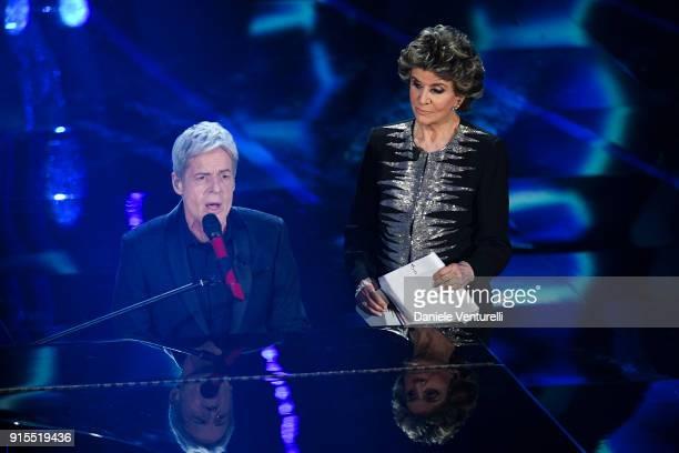 Claudio Baglioni and Franca Leosini attend the second night of the 68. Sanremo Music Festival on February 7, 2018 in Sanremo, Italy.