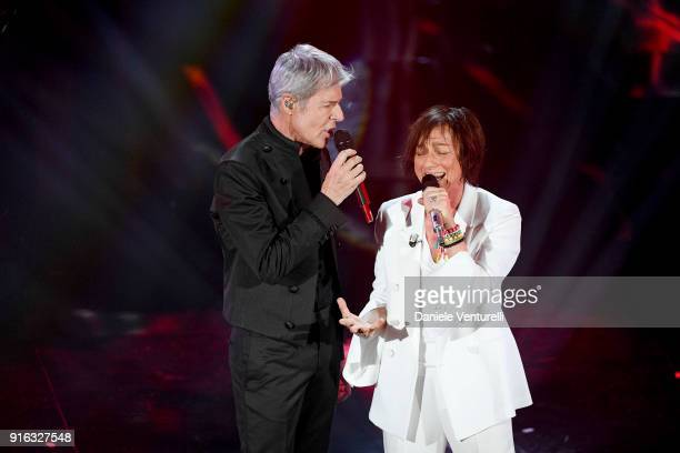 Claudio Baglioni and Gianna Nannini attend the fourth night of the 68 Sanremo Music Festival on February 9 2018 in Sanremo Italy