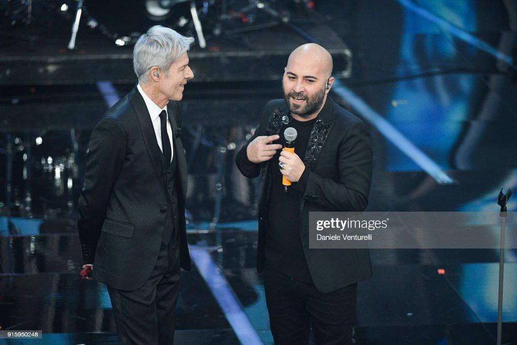 Claudio Baglioni and Giuliano Sangiorgi attend the third night of the 68. Sanremo Music Festival on February 8, 2018 in Sanremo, Italy.
